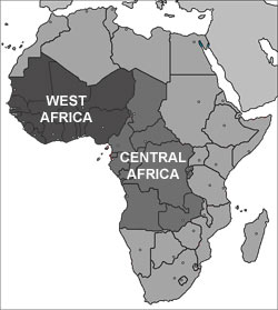 Central and West Africa Map