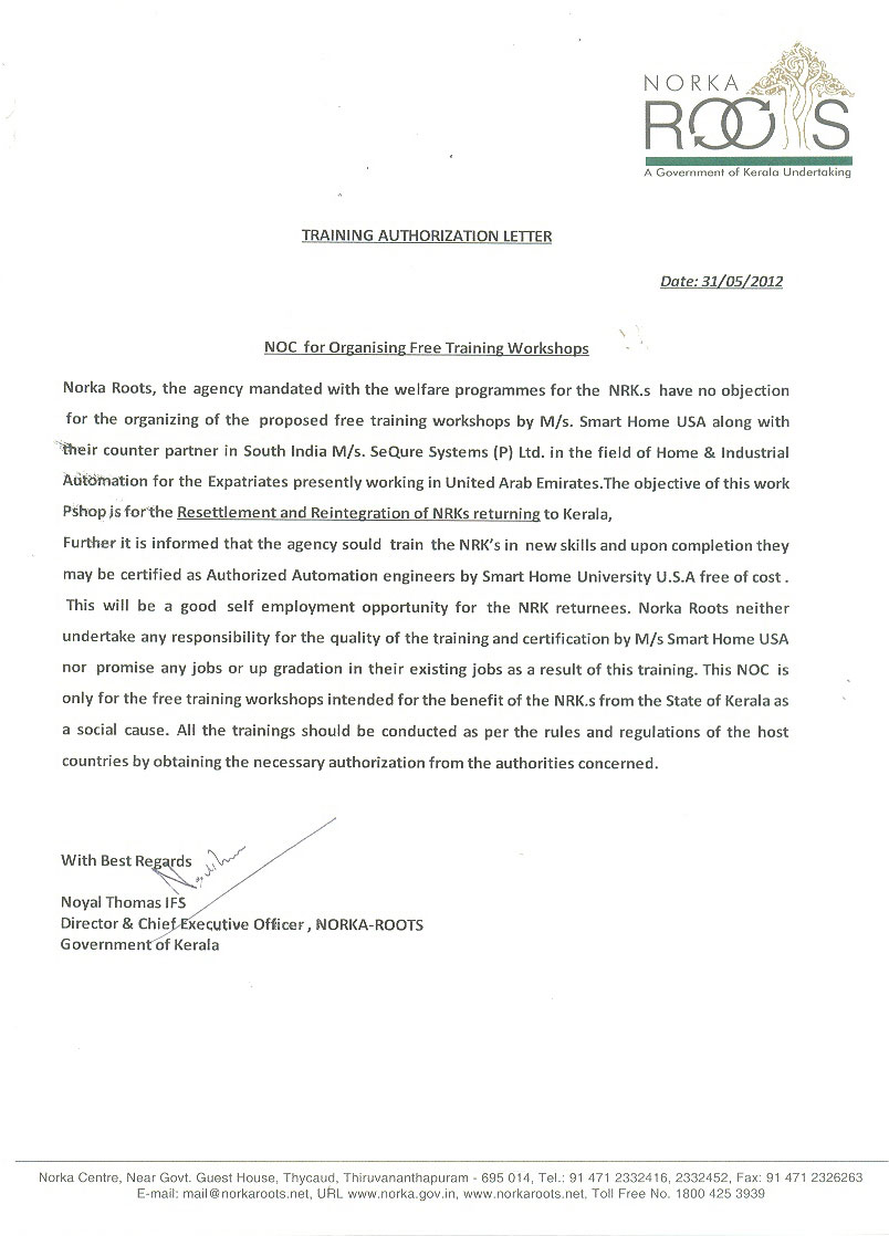 smart bus home automation technology official recognition letter norka roots a government of kerala undertaking