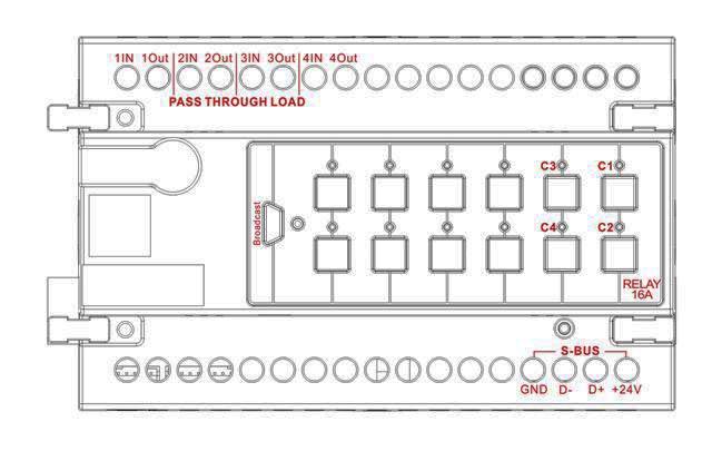 smart-bus relay 4ch 20amp   ch  din-rail mount  g4